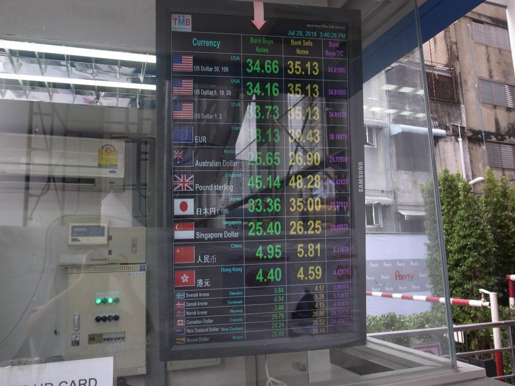 バンコク パンティップ・プラザ TMB銀行レート