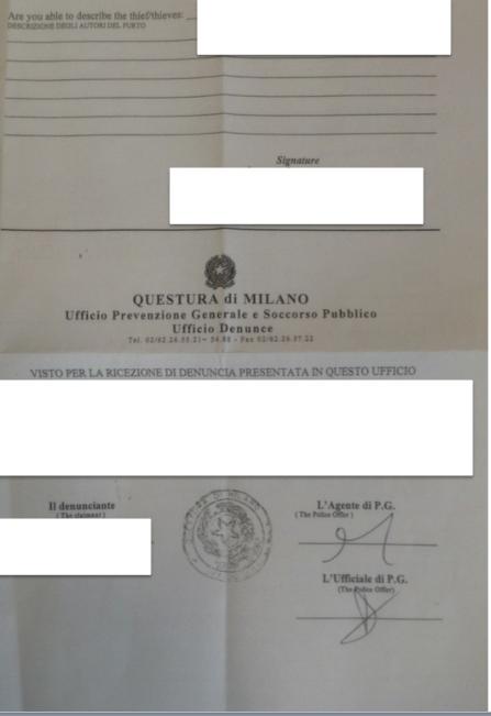 イタリアの盗難届