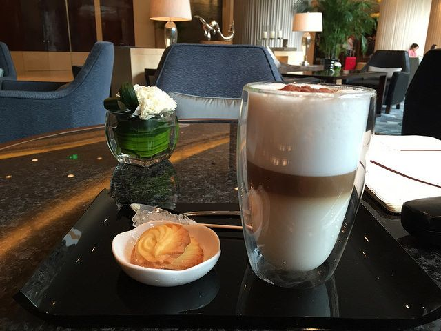 Coffee in Finnair lounge, Helsinki