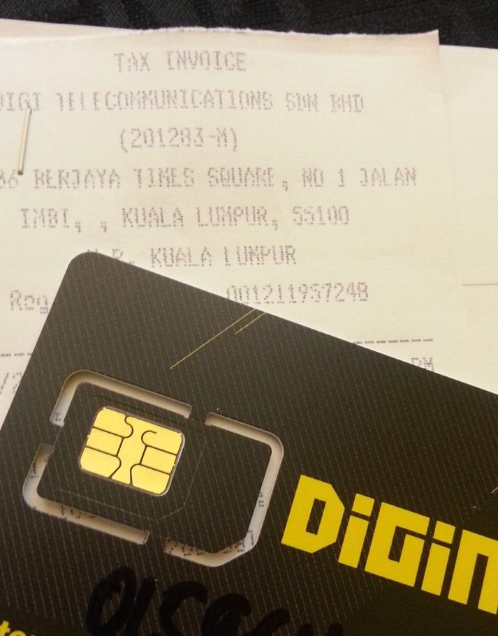 クアラルンプール中古のSIMカード売り場購入したDigiのSIMカード