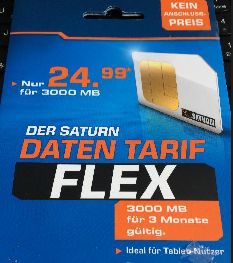 SATURN Daten-Tarif Flex SIMカード表紙